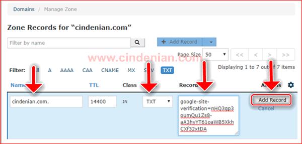 Cara Menambahkan Data TXT Properti Domain ke cPanel